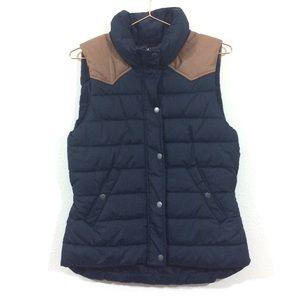 H&M Puffer Winter Vest Faux Leather Blue Brown 8